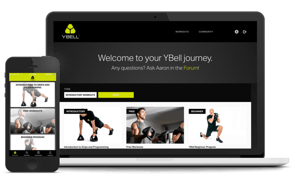 ybell fitness workout app mockup image, laptop and mobile